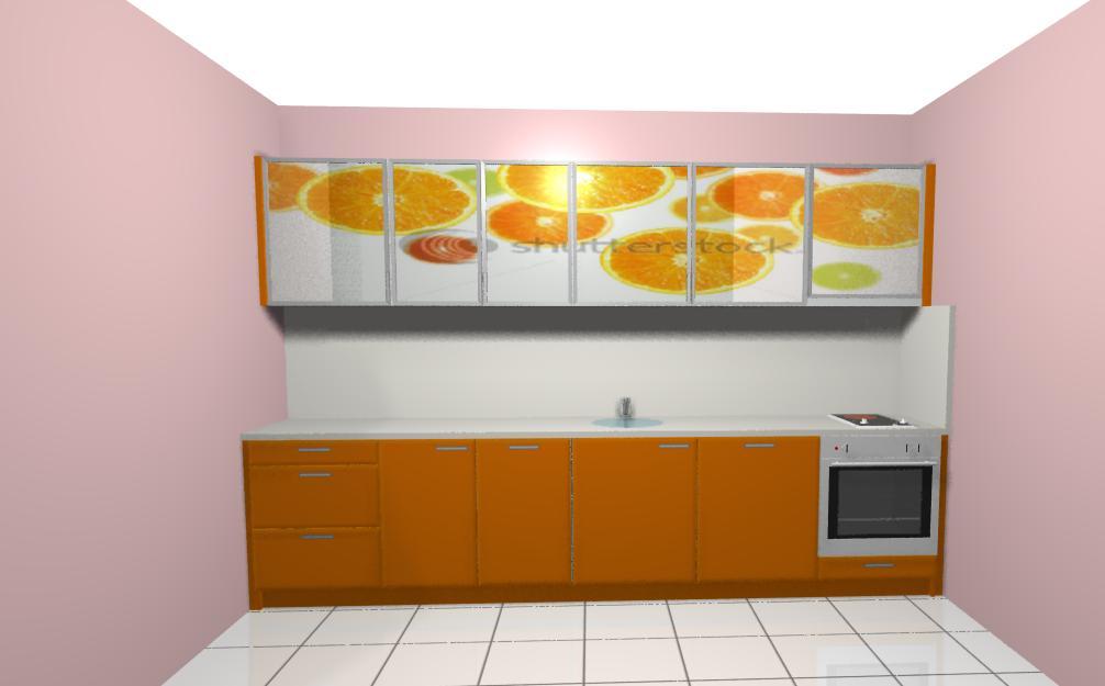 Кухня в оранж врати принт стъкло